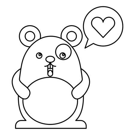 Cute hamster with speech bubble and heart character vector illustration design