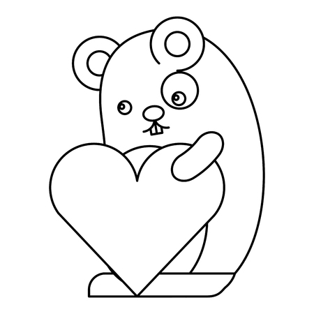 Cute hamster with heart character vector illustration design