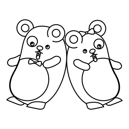 couple cute hamsters kawaii character vector illustration design Ilustrace