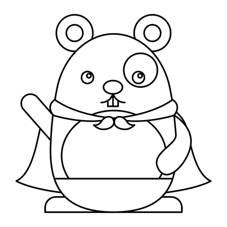 Cute hamster with cloak character vector illustration design Çizim