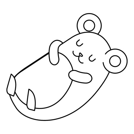 cute hamster sleeping kawaii character vector illustration design Illustration