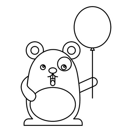 cute hamster with helium balloon kawaii character vector illustration design Illustration