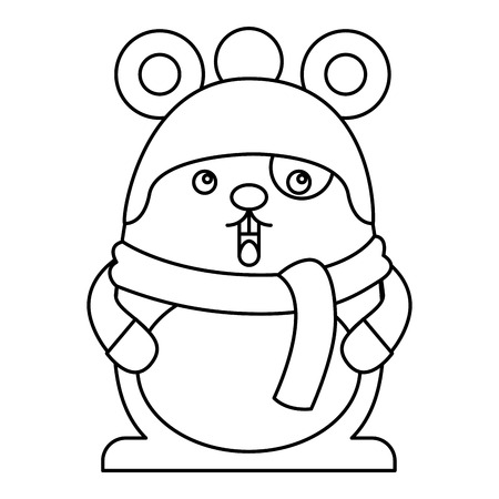 Cute hamster with scarf and hat kawaii character vector illustration design