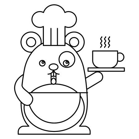 Cute hamster chef character vector illustration design Illustration