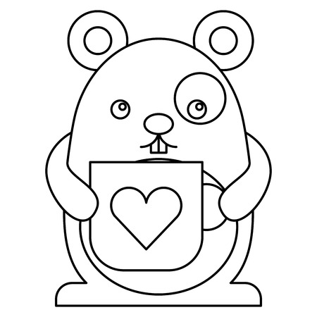 Cute hamster with cup character vector illustration design