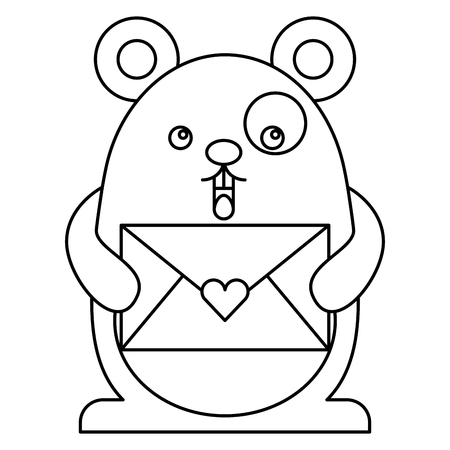 cute hamster with envelope kawaii character vector illustration design Illustration