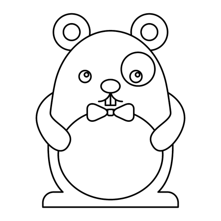 cute hamster male with bow tie kawaii character vector illustration design Stock Vector - 100489287