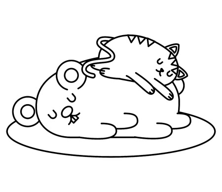 Cute hamster and cat sleeping character vector illustration design Illustration