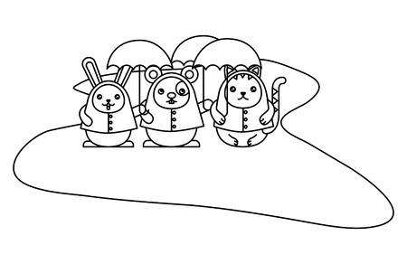 Cute animals with umbrella character vector illustration design