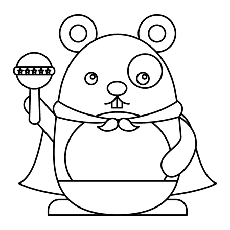 cute hamster with cloak and jingle bell kawaii character vector illustration design