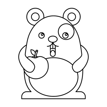 Cute hamster with fruit apple character vector illustration design