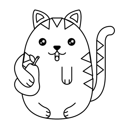 Cute cat with pear fruit character vector illustration design