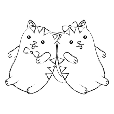Cute cartoon couple kitty playing vector illustration sketch