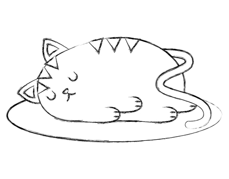 Cute kitty sleeping in the floor vector illustration sketch