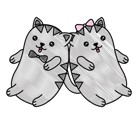 Cute cartoon couple kitty playing vector illustration