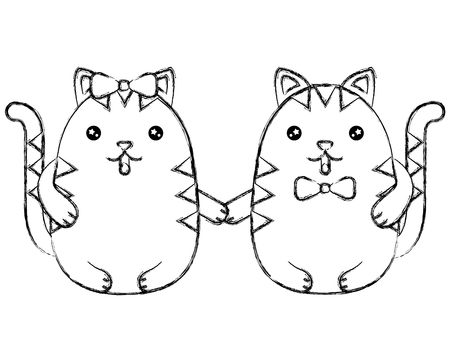 Cute couple kittys holding hands vector illustration vector illustration sketch Фото со стока - 100463181