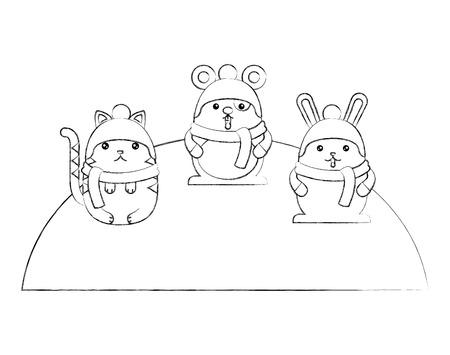 Cute animals wearing hat and scarf cartoon vector illustration sketch Фото со стока - 100463185
