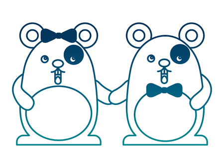Cute couple mouse holding hands vector illustration
