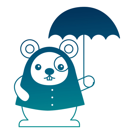 cute kawaii mouse cartoon wearing coat with umbrella vector illustration