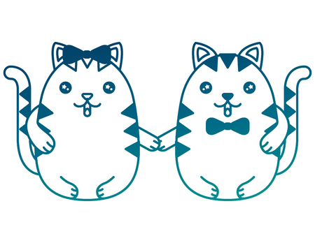cute kawaii couple kittys holding hands vector illustration  vector illustration
