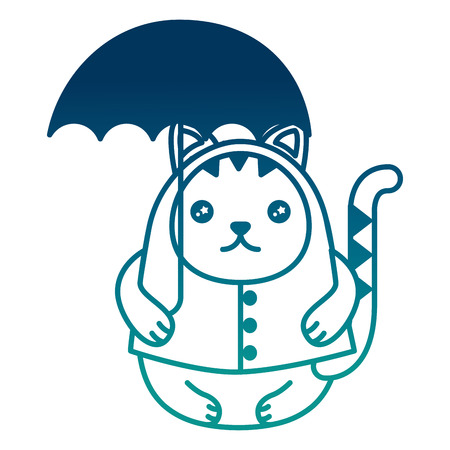 Cute kitty cartoon wearing coat with umbrella vector illustration