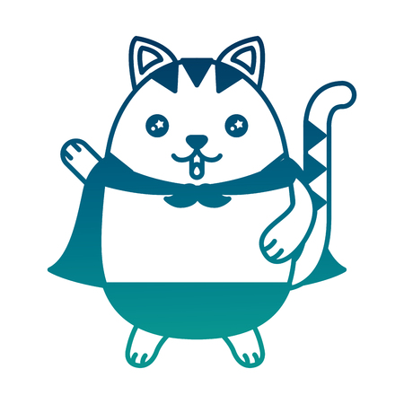 Cute kitty cartoon wearing cape vector illustration