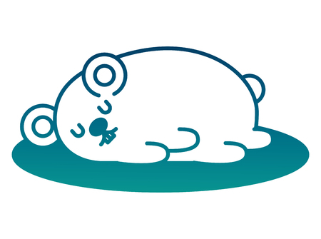 Cute mouse sleeping in the floor vector illustration