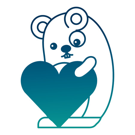 Cute mouse cartoon holding heart romantic vector illustration