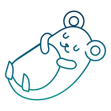 Adorable mouse sleeping resting cartoon vector illustration vector illustration