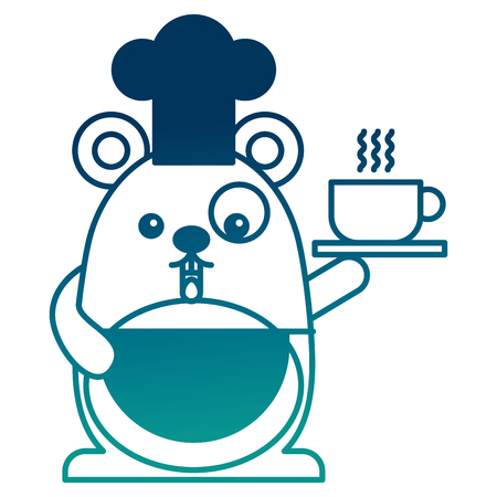 Cute chef mouse with coffee cup cartoon vector illustration Illustration