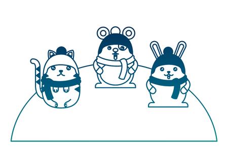 Cute animals wearing hat and scarf cartoon vector illustration Фото со стока - 100463565