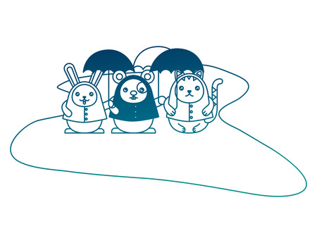 Cute rabbit cat and mouse with umbrellas vector illustration