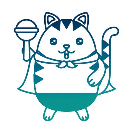 Cute kitty cartoon holding rattle vector illustration