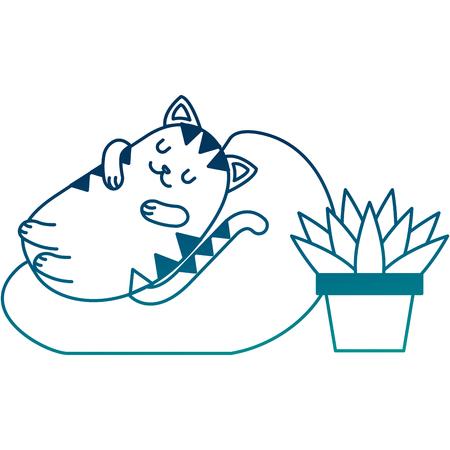 Cute cat sleeping in the cushion vector illustration Illustration