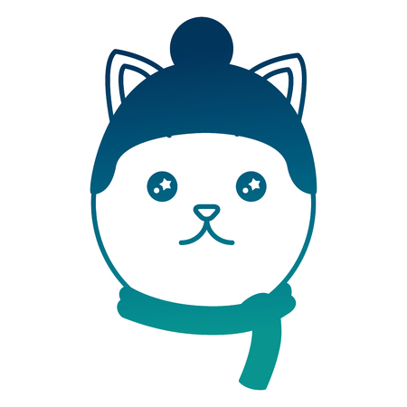 Cute kitty hat and scarf cartoon image vector illustration