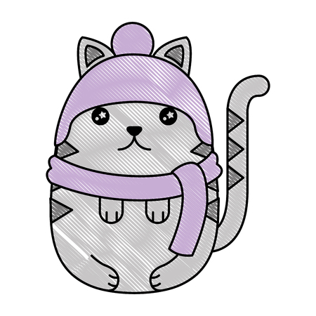 Cute kitty cartoon wearing warm hat and scarf gloves vector illustration