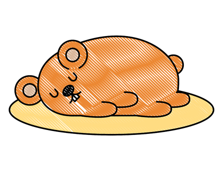 Cute hamster sleeping cartoon character illustration design Çizim