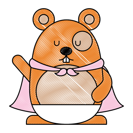 Cute hamster with cloak cartoon character illustration design