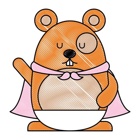 Cute hamster with cloak cartoon character illustration design