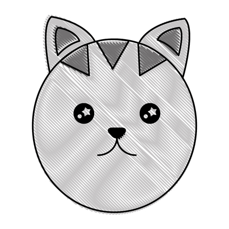 Cute cat head cartoon character illustration design
