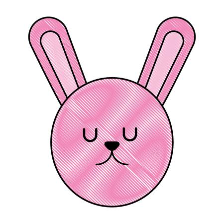 Cute rabbit head cartoon character illustration design