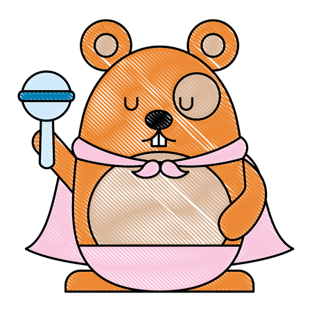 Cute hamster with cloak icon Illustration