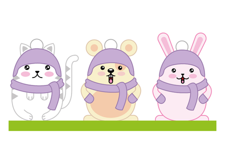 Cute animals with scarf and hat character design