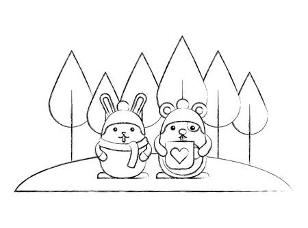 cute rabbit and hamster with landscape character vector illustration design