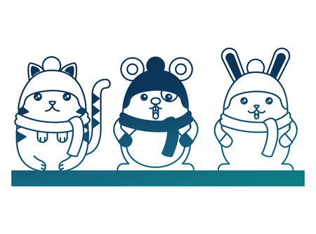 cute rabbit cat and mouse with scarf and hats vector illustration degraded color  イラスト・ベクター素材