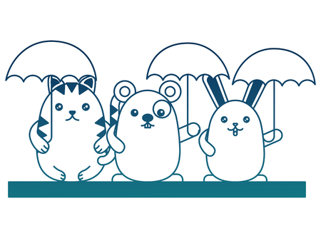 cute  rabbit cat and mouse with umbrellas vector illustration degraded color