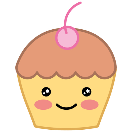 Cute cupcake cartoon character illustration design