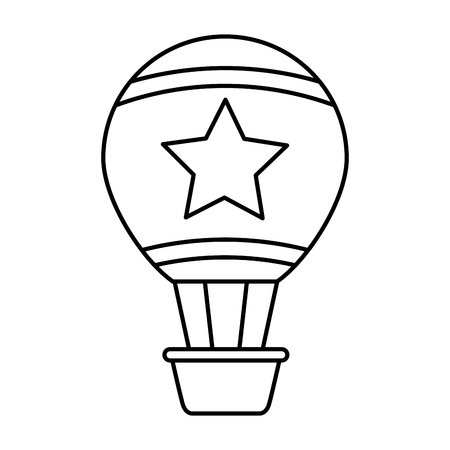 Hot air balloon with star character vector illustration design