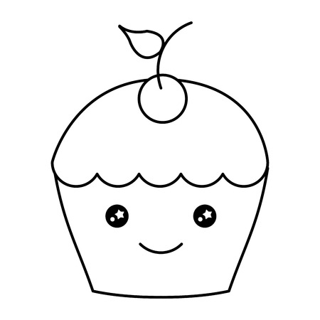 Delicious cupcake with cherry character vector illustration design