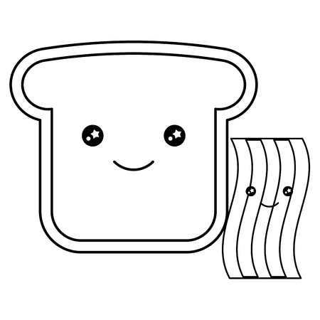 Bread toasts slices character vector illustration design Çizim